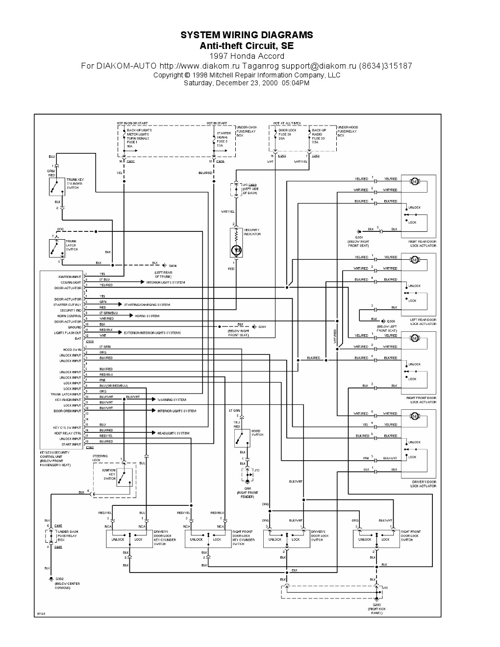 1997 honda civic electrical wiring diagram collection