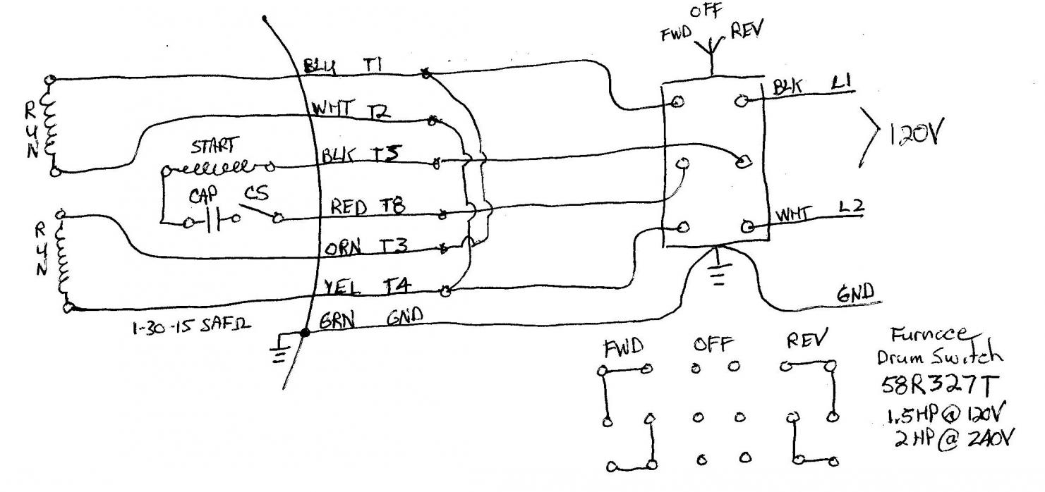 240v motor wiring diagram single phase Collection-With Single Phase Motor with Capacitor forward and Reverse Wiring 14-s
