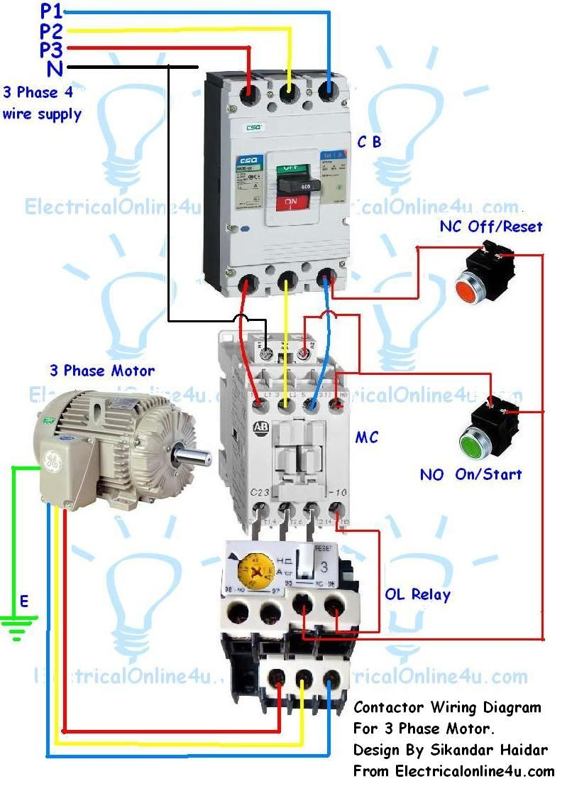 3 phase motor contactor wiring diagram Collection-Contactor Wiring Guide For 3 Phase Motor With Circuit Breaker Overload Relay NC NO Switches 7-h