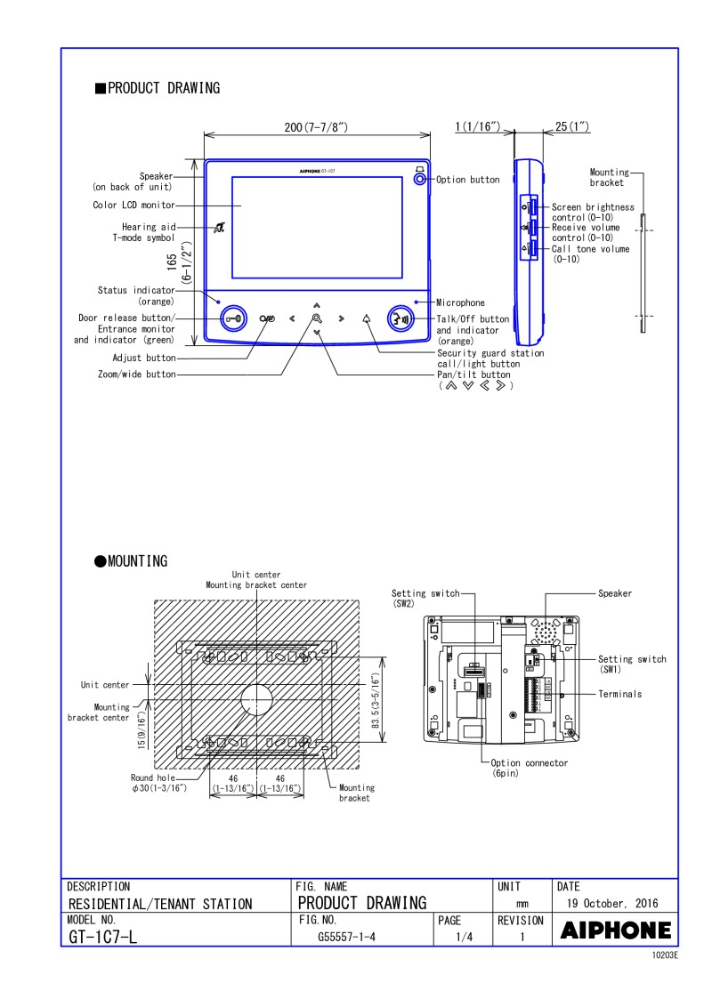 aiphone gt 1c7 wiring diagram Download-GT 1C7 L Spec Sheet 3-b