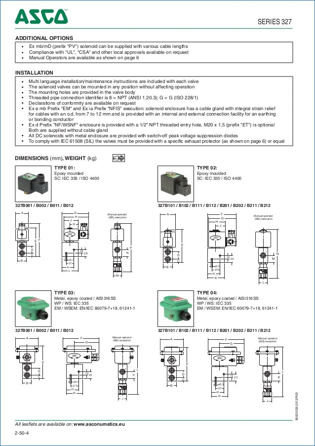 asco solenoid valve wiring diagram Collection-ASCO ATEX Solenoid Valves 327 Series Spec Sheet Generac Automatic Transfer Switch Wiring Diagram 17-e