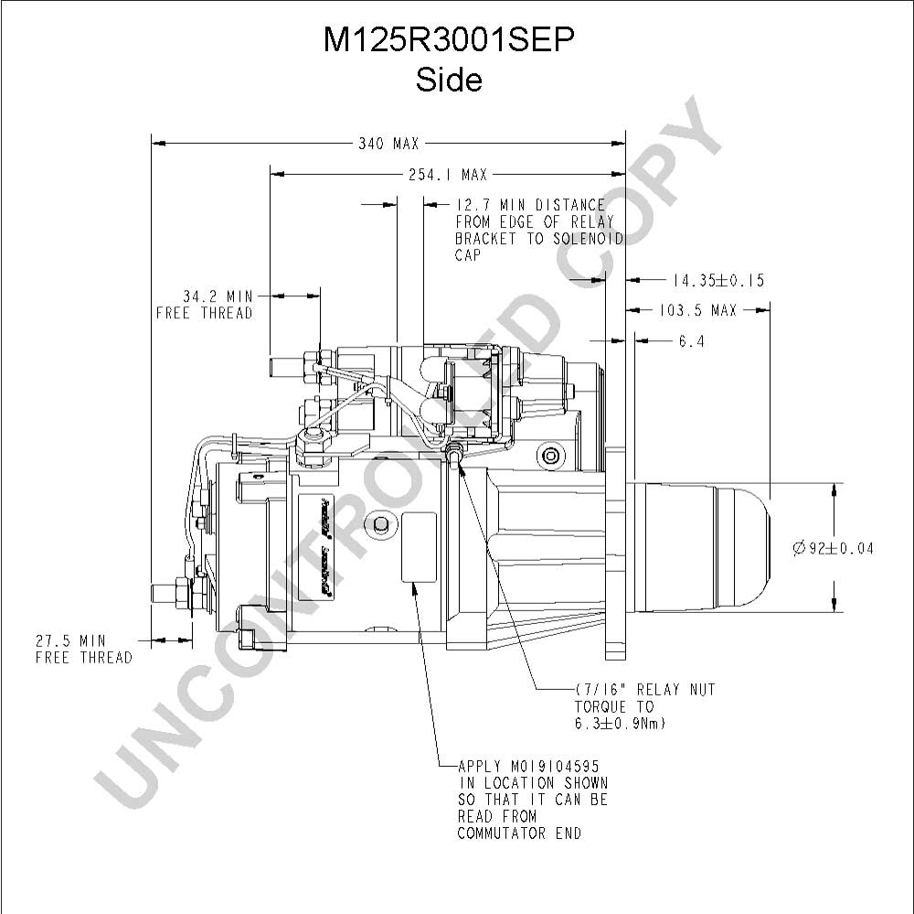 caterpillar starter wiring diagram Download-M125R3001SEP Side Dim Drawing Output Curve M125R3001SEP Output Curve Wiring Diagram 6-n