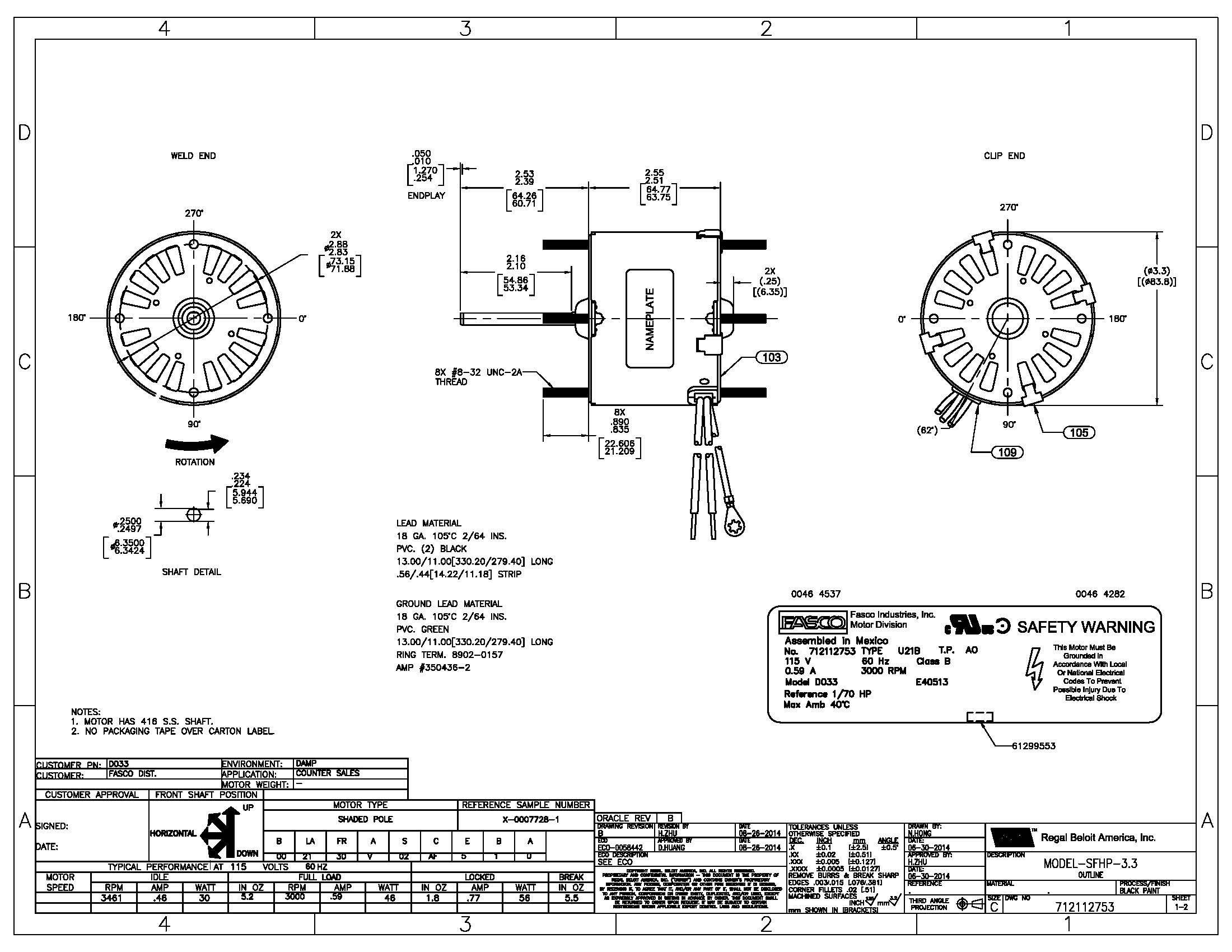 fasco fan motor wiring diagram Download-Wiring Diagram For Fasco Blower Motor Fresh Wiring Diagram Shaded Pole Motor New D033 Fasco 1 70 Hp Fan & Blower 16-r