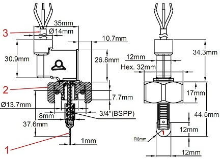 flow switch wiring diagram Collection-Type B Paddle for DN15 tee 1 Paddle 2 Body 3 Cable 4-n