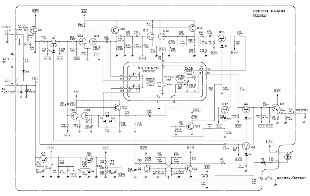 humbucker pickup wiring diagram Collection-220v Wiring Diagram Beautiful Boss Od 2 Turbo Overdrive Guitar Pedal Schematic Diagram 1-s