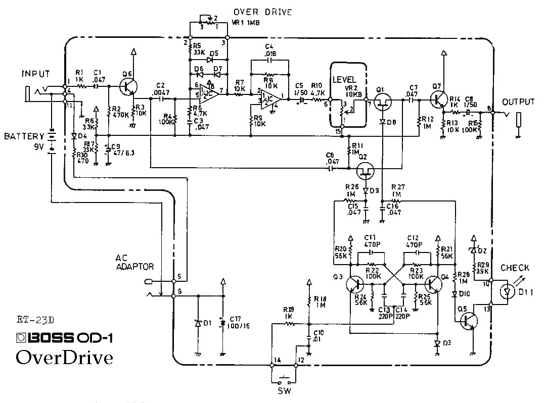 humbucker pickup wiring diagram Download-Boss OD 1 OverDrive pedal schematic diagram Boss OD 1 OverDrive Guitar 11-e