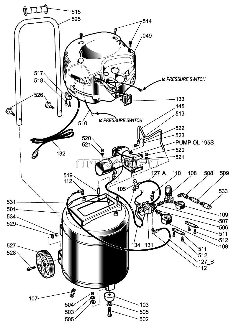 husky air compressor wiring diagram Download-H1512FWK parts 19-d