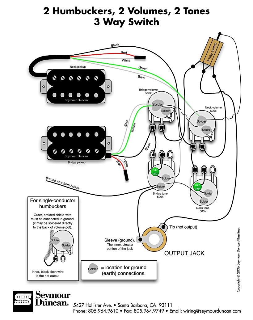 les paul studio wiring diagram Collection-Wiring Diagram for 2 humbuckers 2 tone 2 volume 3 way switch i e traditional LP set up find more at wiring diagrams 15-s