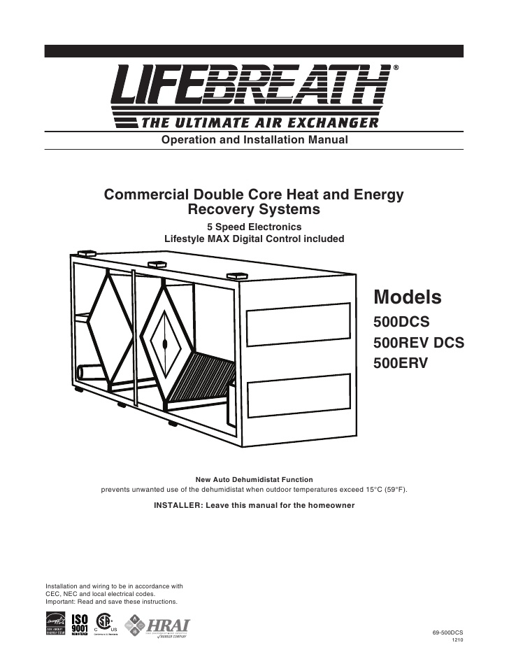 lifebreath hrv wiring diagram Download-Operation and Installation Manual mercial Double Core 15-l