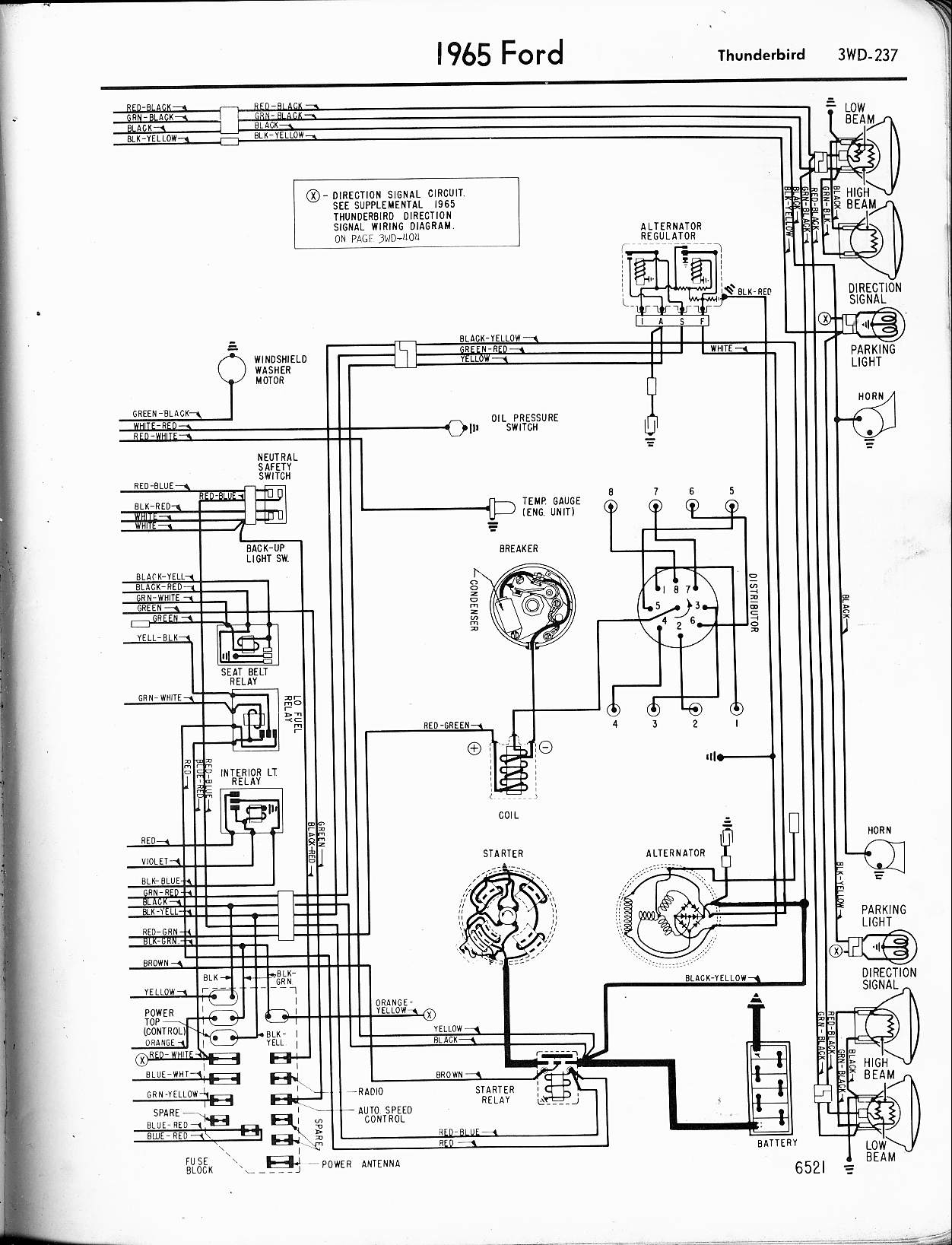 lincoln sae 300 wiring diagram Collection-1965 Thunderbird right 1-r