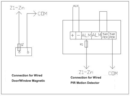 magnetic door contact wiring diagram Download-Wired Connection For Wired Detectors 11-c