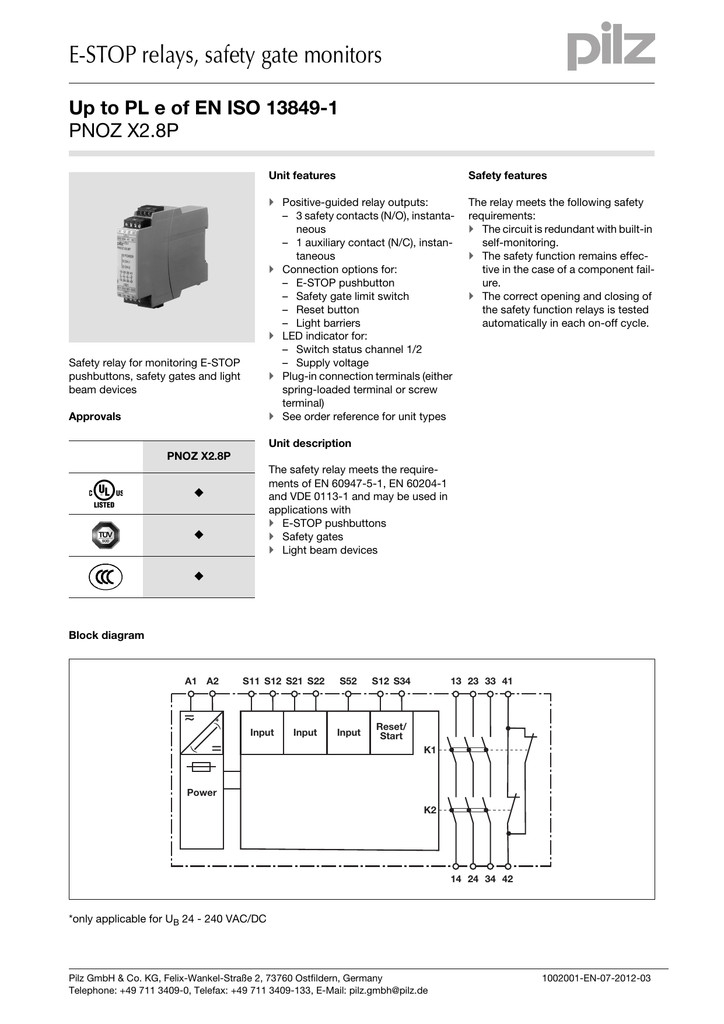 pilz pnoz x1 wiring diagram Download-Pilz Pnoz X1 Wiring Diagram Unbelievable E Stop Relays Safety Gate Monitors Pnoz X2 8p 17-g