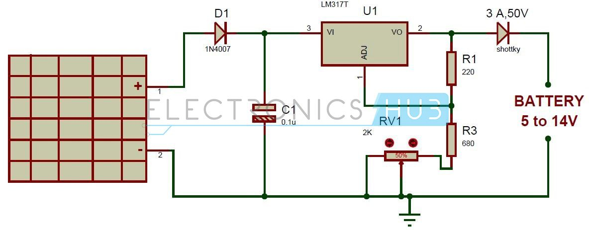 solar battery bank wiring diagram Collection-Here is the simple solar battery charger circuit designed to charge a 5 14v battery using LM317 voltage regulator It is very simple and inexpensive 5-s