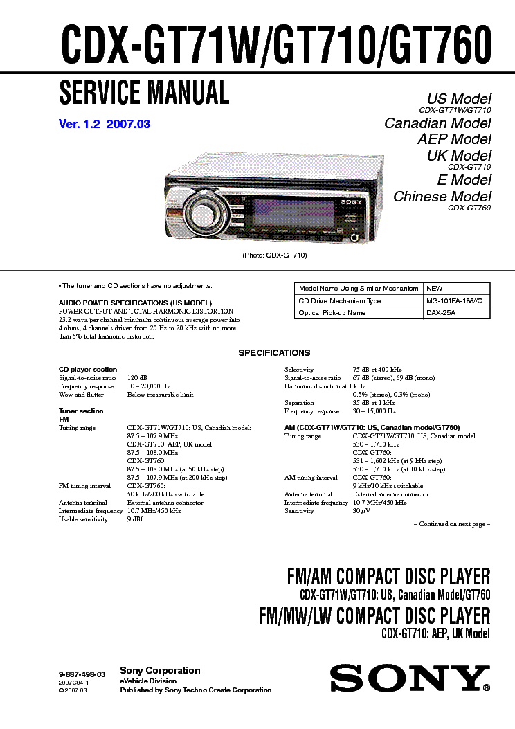 sony cdx gt71w wiring diagram Collection-SONY CDX GT71W GT710 GT760 VER 1 2 SM service manual 1st page 11-b