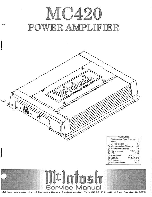 subaru mcintosh wiring diagram Collection-McIntosh MC 420 Car Amplifier Original Service Manual 11-f