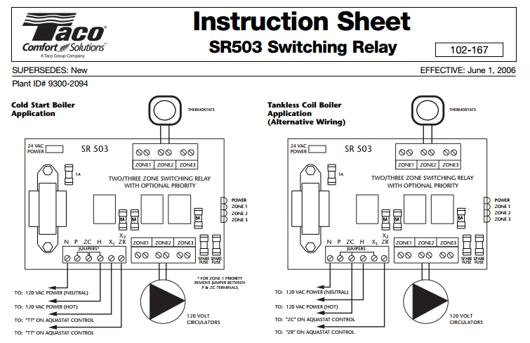 taco cartridge circulator wiring diagram Collection-taco circulator pump wiring diagram Fresh Taco SR503 4 Three Zone Switching Relay – ecobee Support 9-h