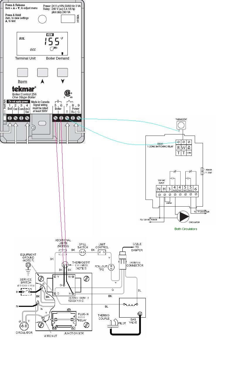 tekmar 256 wiring diagram Collection-Boiler Wiring Weil CGa Tekmar 256 Taco SR501 And T Stat With Diagram 18-a
