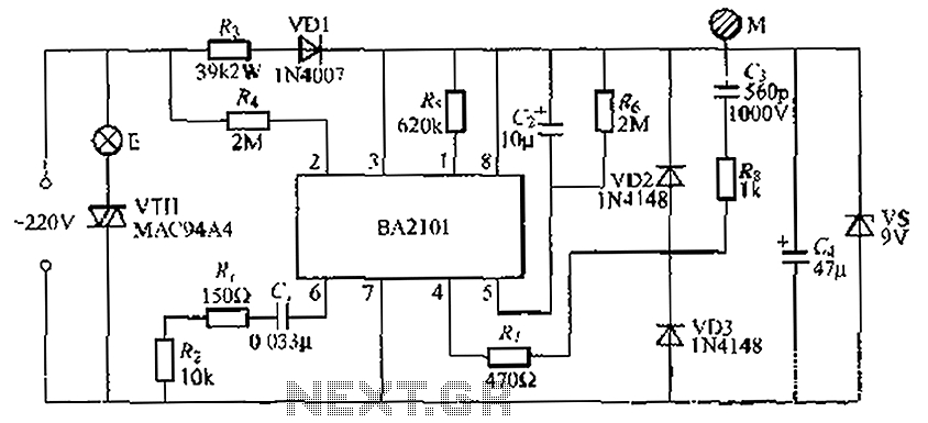 touch dimmer wiring diagram Collection-Stepping BA2101 touch dimmer light circuit 5-p