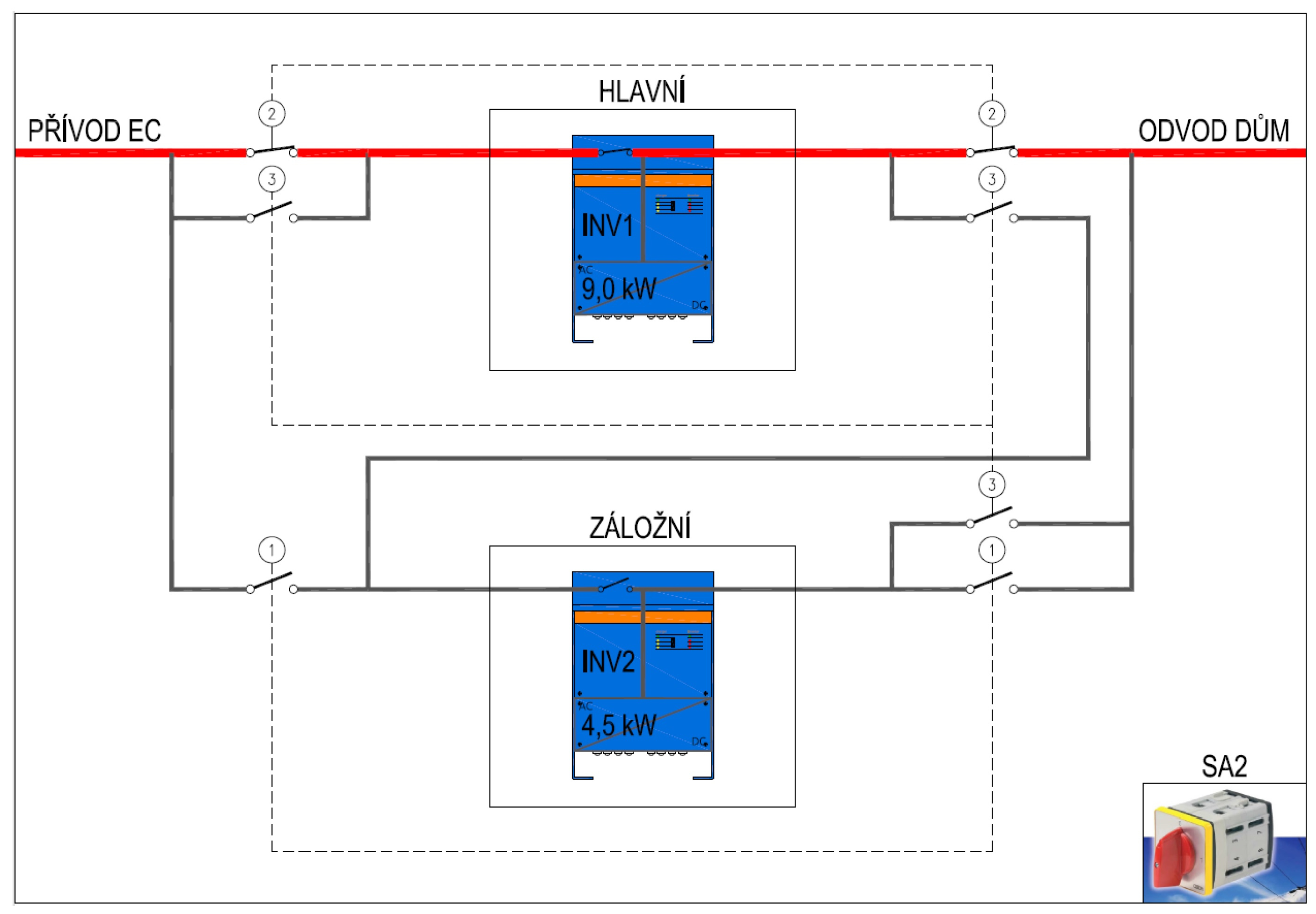 """victron inverter wiring diagram Collection-Single line diagram of the """"Select converter"""" switch the building powered by the main converter 1-i"""