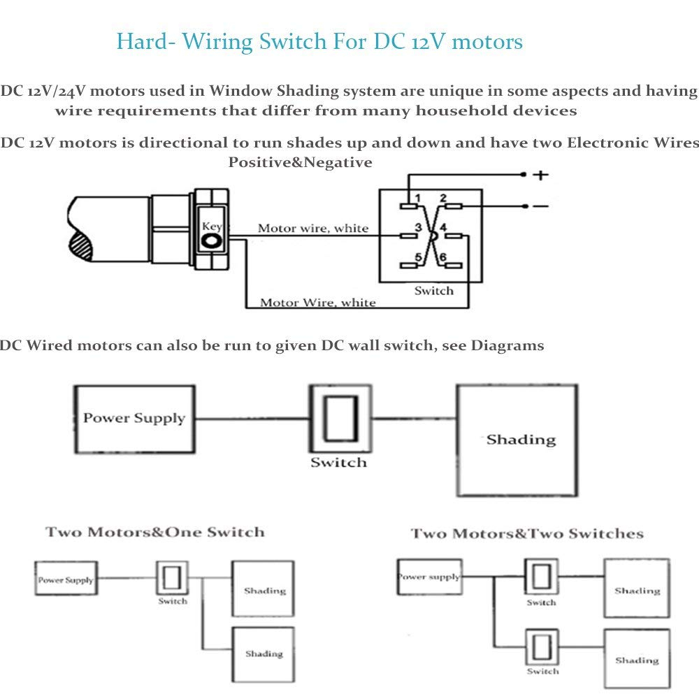 wiring diagram for motorized blinds Collection-Amazon Rollerhouse Electric Roller Blind Shades with 16mm Tubular Motor Kit Hard wired Switching for 12v DC motors Suit for 1 1 inch Roller Tube 13-h