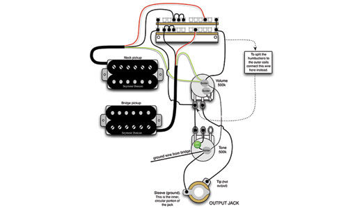 Two Humbucker One Tone One Volume Wiring Diagram