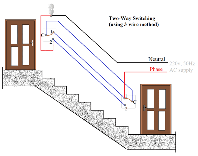 2 Way Light Switch Wiring Diagram from circuitdigest.com