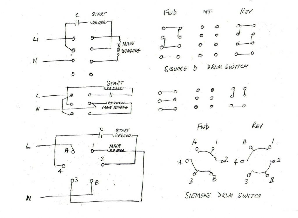 Single Phase Motor With Capacitor Forward And Reverse Wiring Diagram from www.model-engineer.co.uk